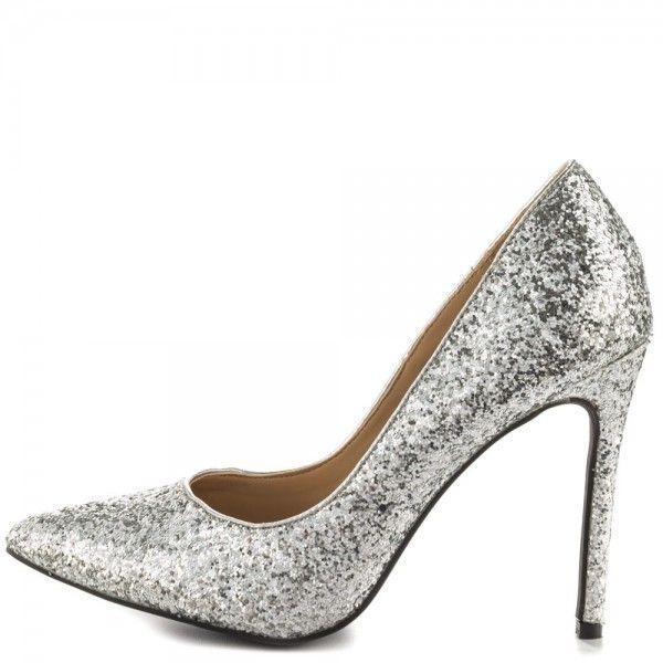 Women\'s Phoebe Silver Glitter Low-Cut Upper Pointed Toe Stiletto ...