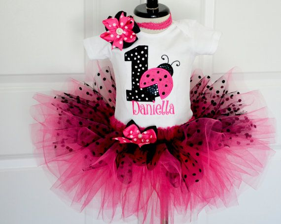 foto de 1st Ladybug birthday outfitHot Pink and Black polka by