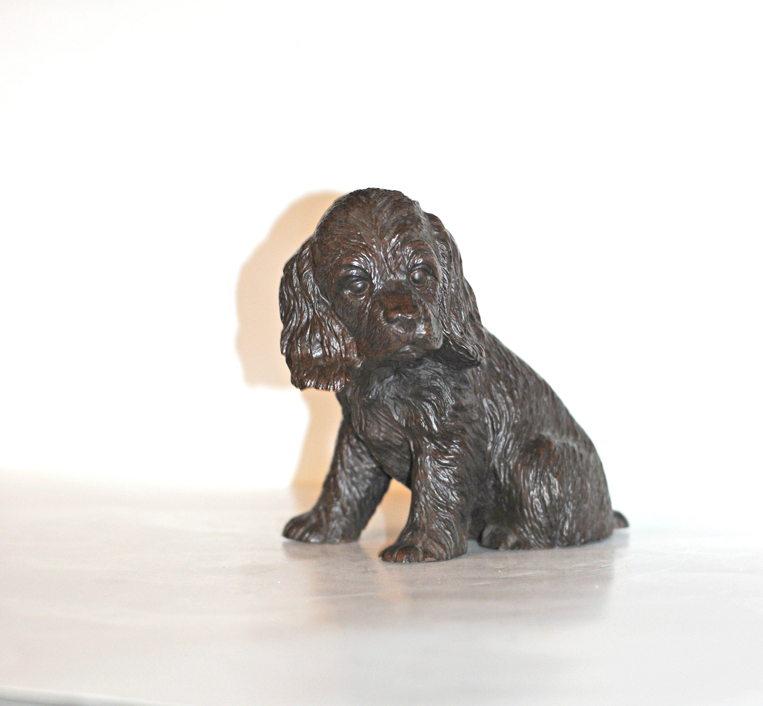 COCKER SPANIEL BLACK//WHITE TINY ONES DOG Figurine Statue Pet Gift Resin
