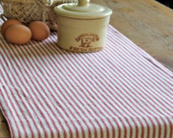 Attractive Farmhouse Table Runner, Country Table Runner, Ticking Stripe Table Runner,  Red Stripe Table Runner, Cotton Tablerunner, Cotton Table Runner