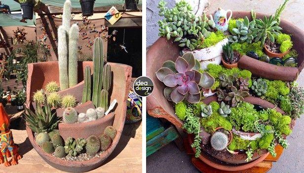 Riciclare i vasi rotti in fantastici giardini in miniatura for Creazioni giardini