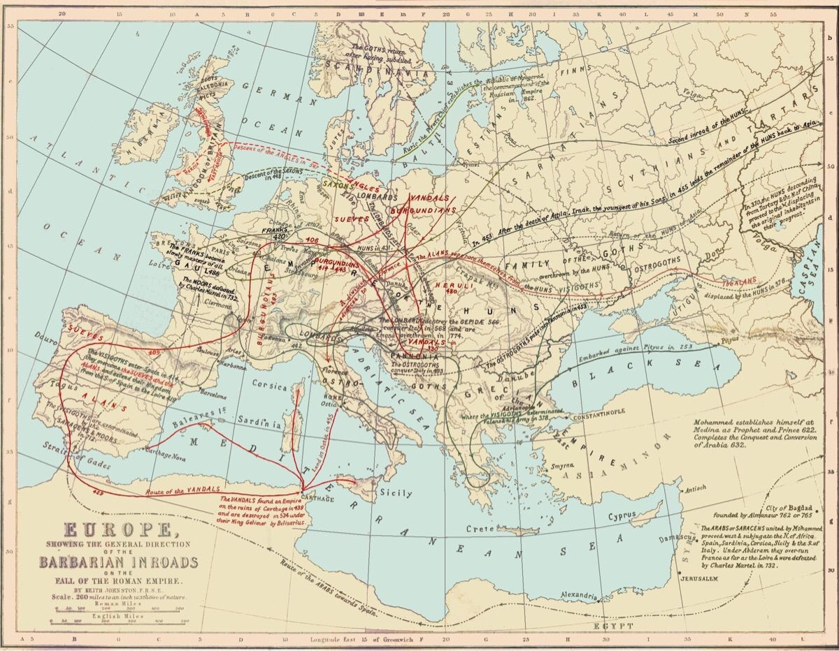 Map Of Asia In 700 Ad.Map Of The Migration Period Of The Early Middle Ages Also Know As