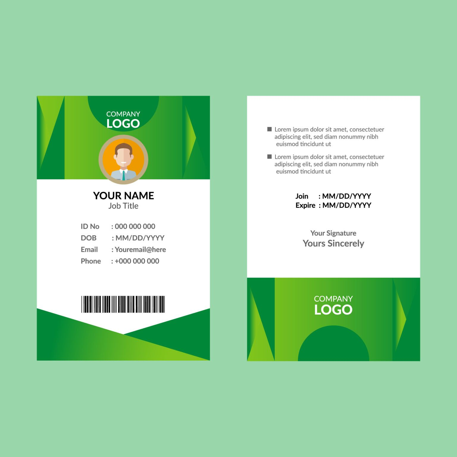 Green Id Card Template Download Free Vectors Clipart Regarding Shield Id Card Template Id Card Template Card Template Free Business Card Templates