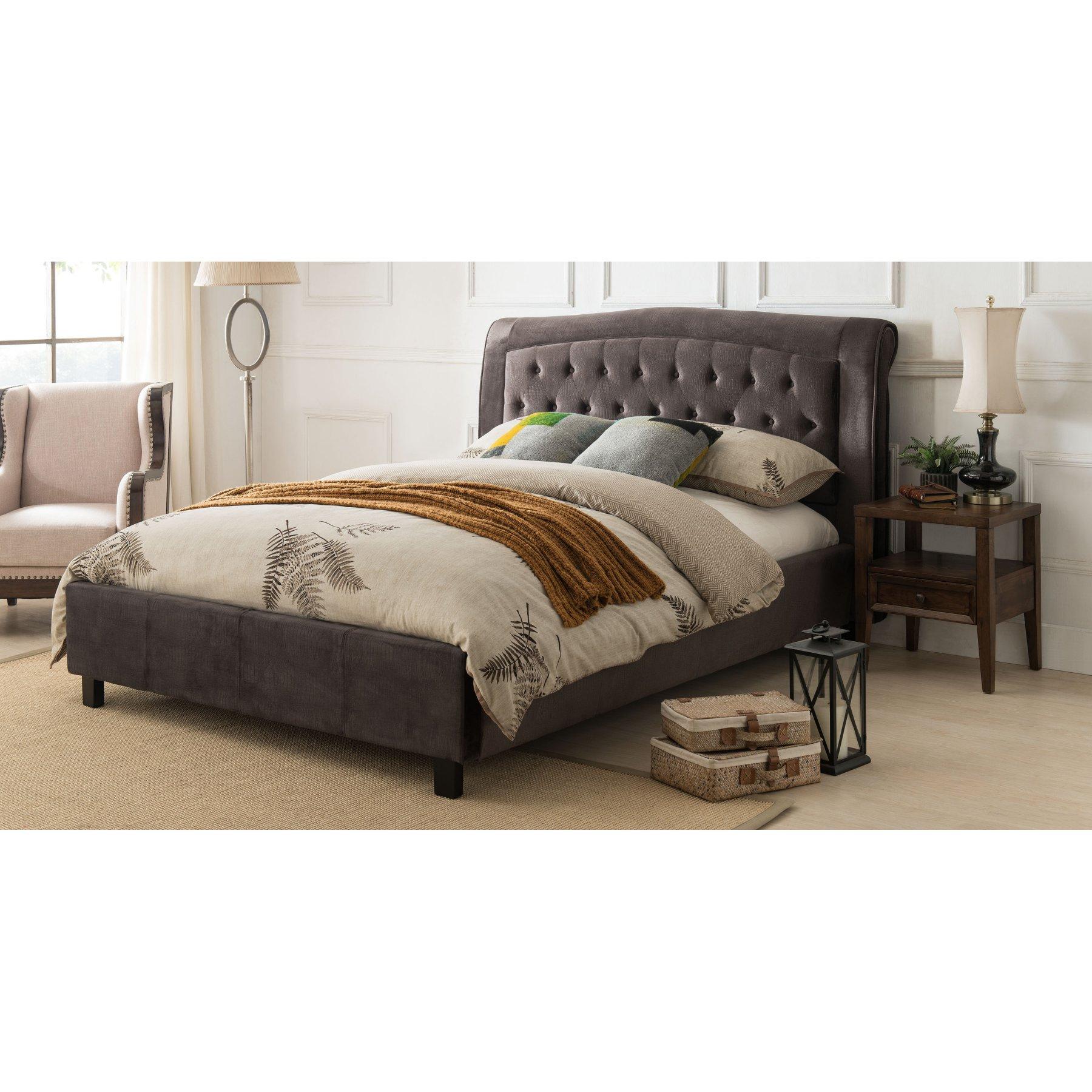 Milton Greens Stars Desiree Upholstered Platform Bed  7512 Gray Queen