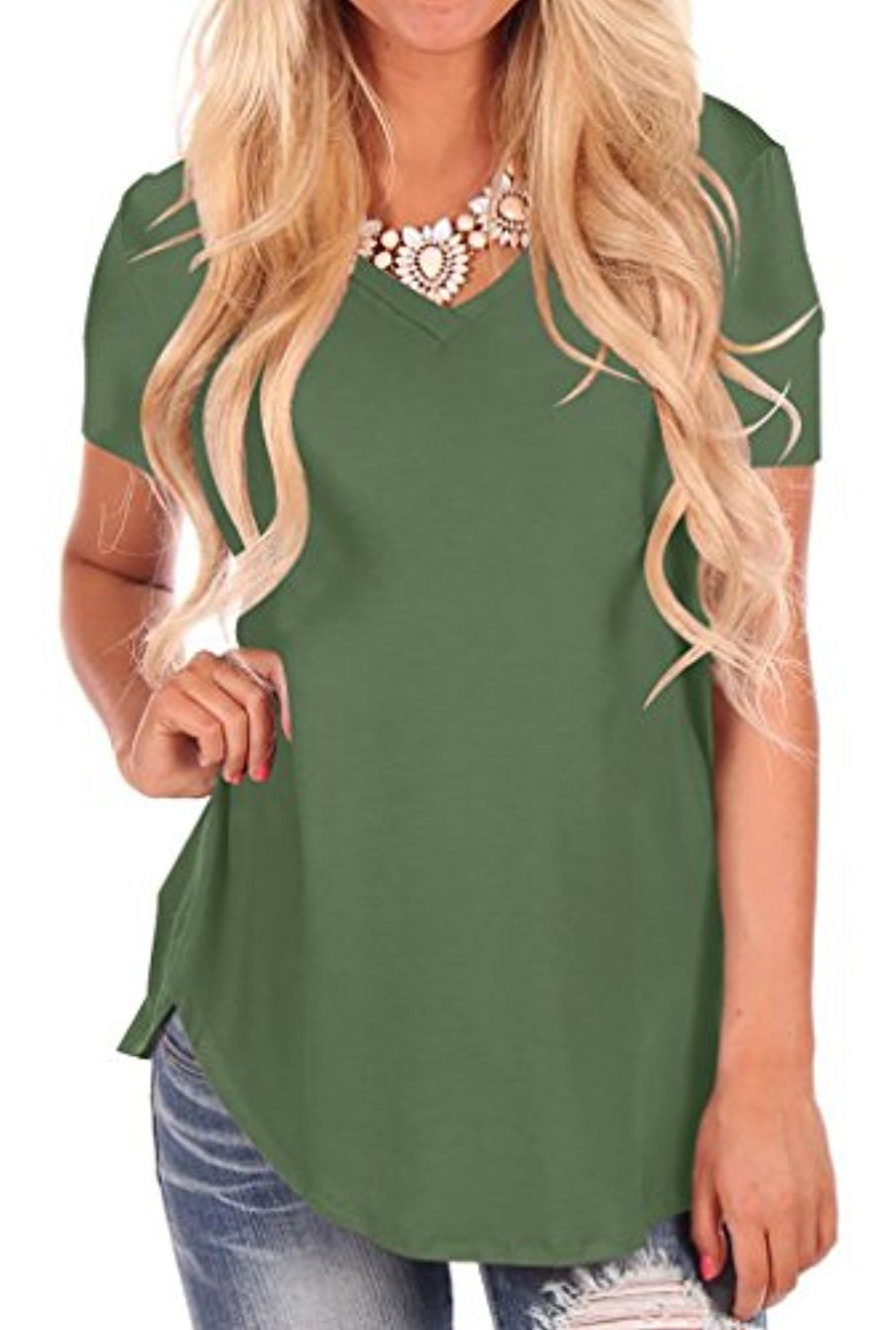 ee5cd850f3cb Material: 95% Cotton 5% Spandex - Imported - Pull On closure - The  lightweight fabric is soft and has some stretch - V Neck short sleeve T- shirt, ...