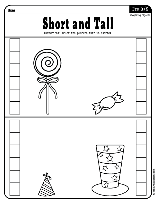 Fun Short Or Tall Preschool Worksheets Perfect For Math And Reading Readiness Prek Math Activities Preschool Alphabet Worksheets Preschool Preschool Phonics