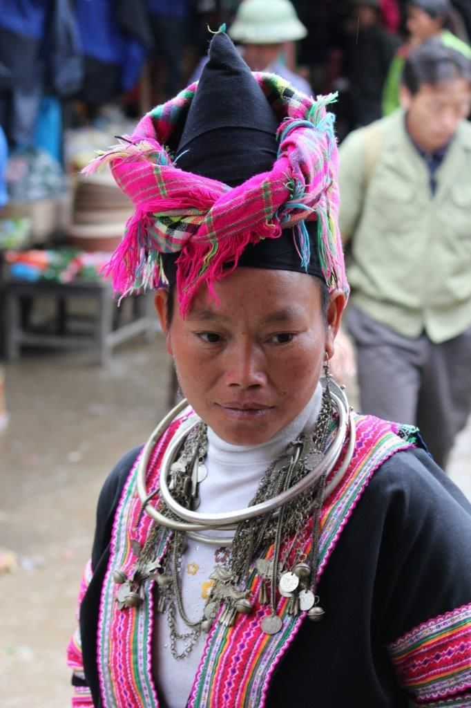 Hmong hill tribe lady at the Sunday market in Sin Ho village, NW Vietnam. This village is 8 hours drive west of Sapa