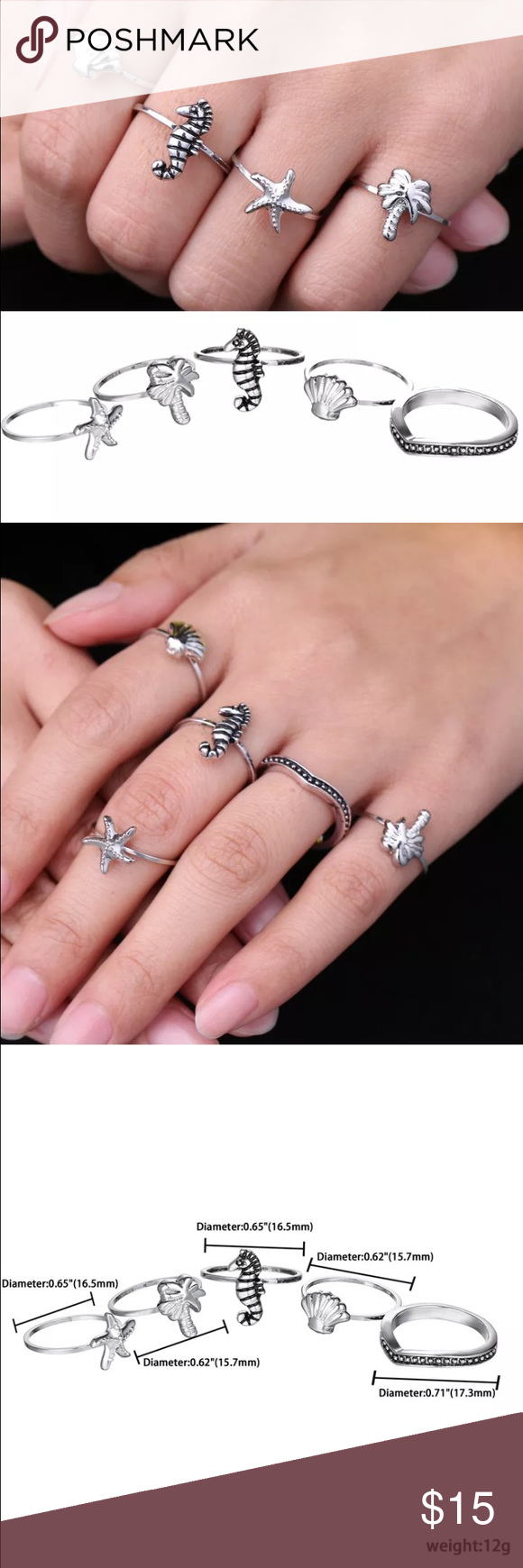 SILVER 5 pc Ring Beach Set SIZE 7 Boutique | Pinterest | Tree ...