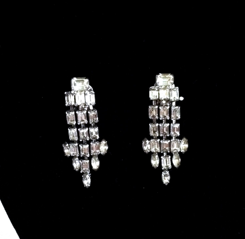 Vintage Earrings 1950's Weiss Austrian Crystal Rhinestone Clip On Earrings Fine…