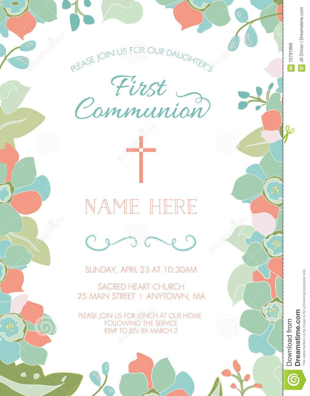 First communion baptism christening invitation template floral first communion baptism christening invitation template floral border stopboris Choice Image
