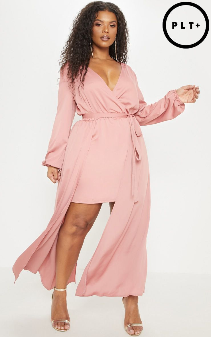 2d05eed4bef Plus Rose Satin Plunge 2 in 1 Maxi in 2019