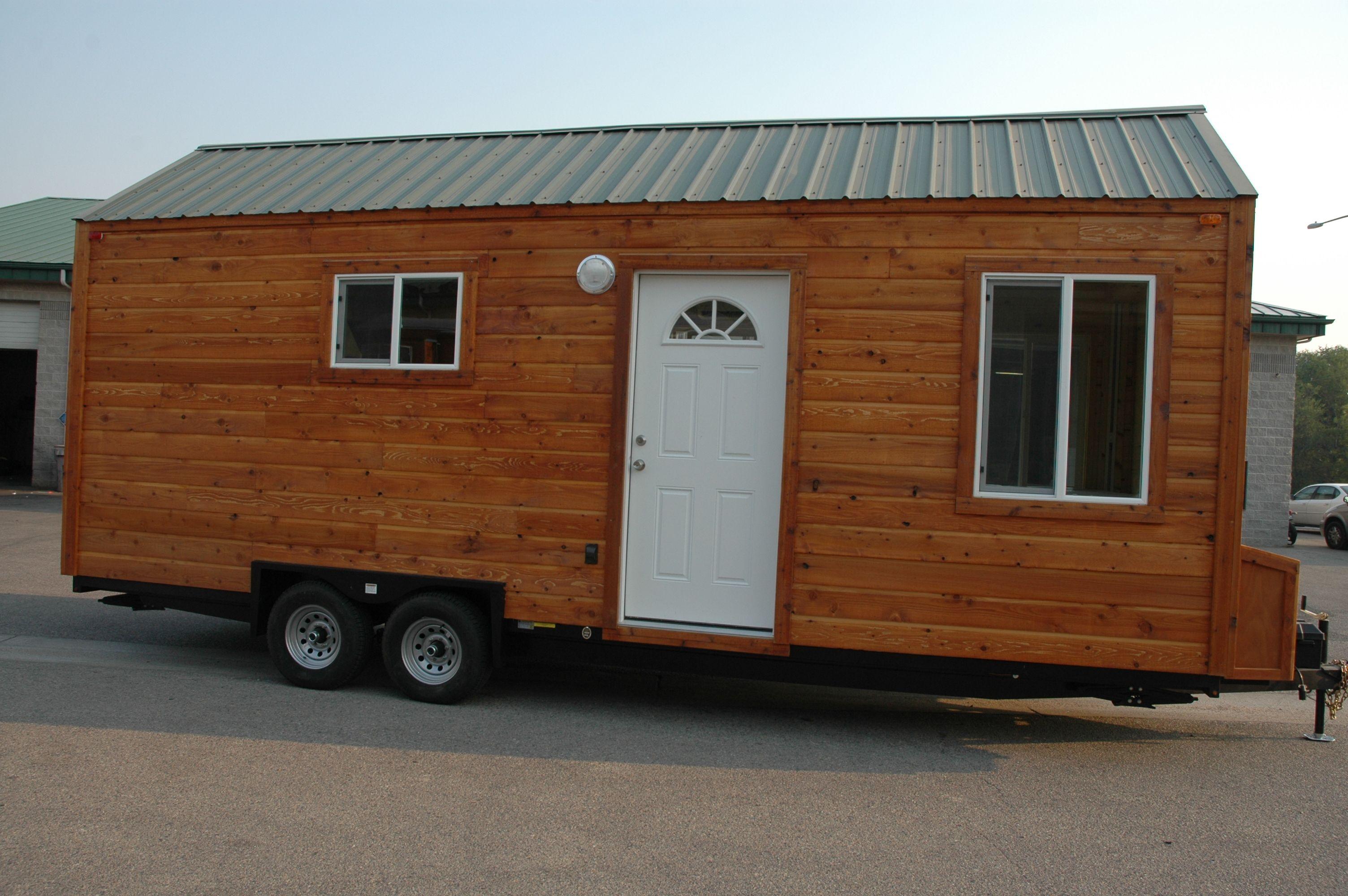 24 Tiny House On Wheels Cedar Lap Siding Forest Green