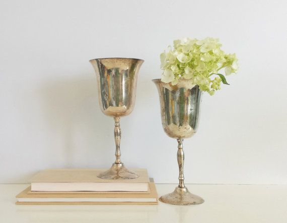 Silver Wine Goblet Set  Set of 2 Vintage Patina by CurrentClassic, $24.00