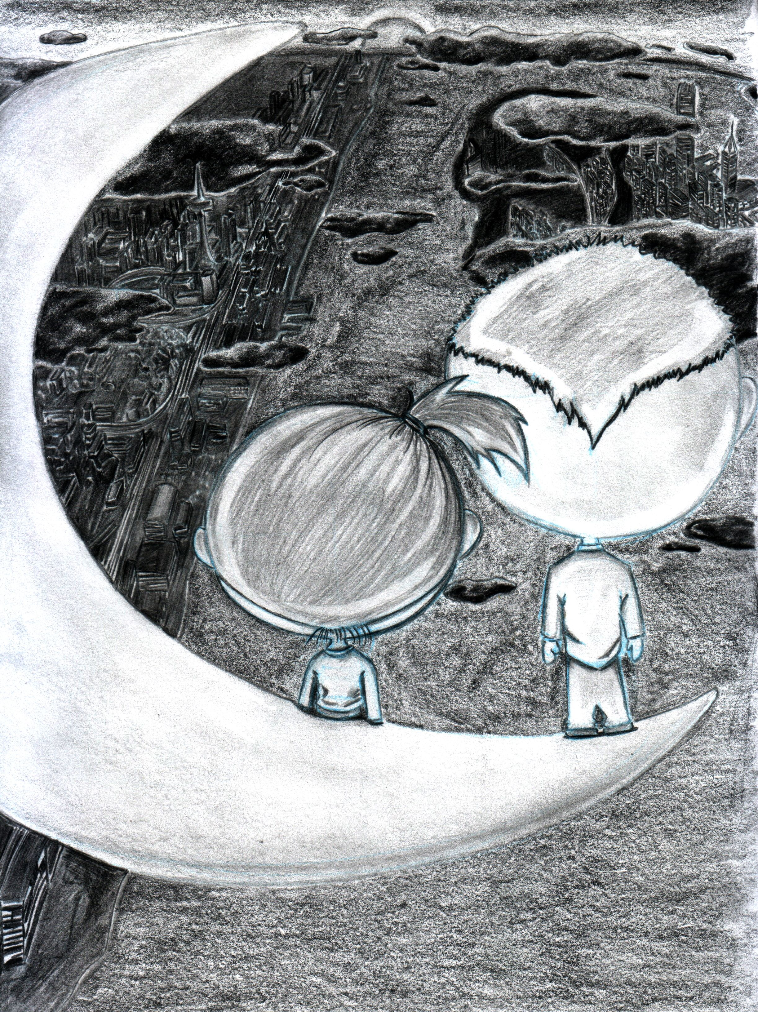 Title : On the Moon (Pencil Drawing) by danny lam