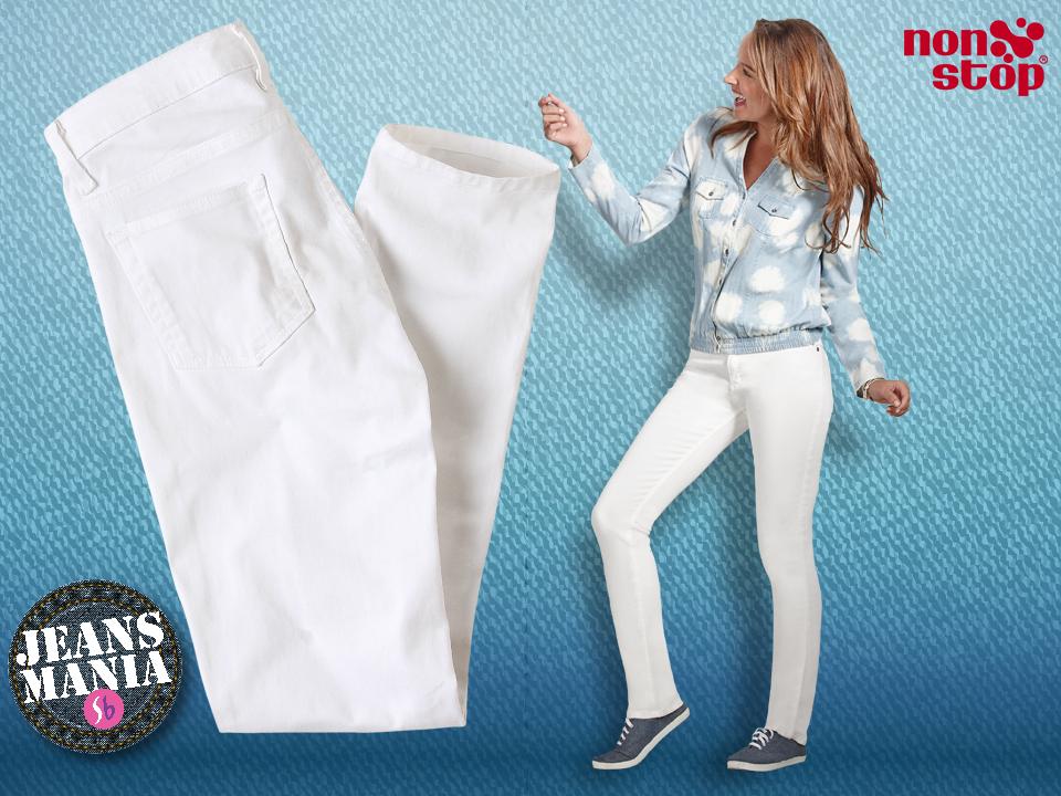 Que no te falten unos pantalones #NonStop de gabardina en color blanco, ¡la tendencia de esta primavera! Ideales para looks casuales de día o para lucir sexy por la noche. #Jeansmanía