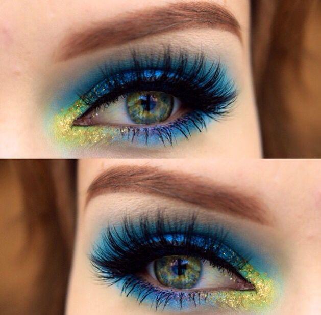 Maquillaje de ojos azul con neón eyes makeup Pinterest Makeup