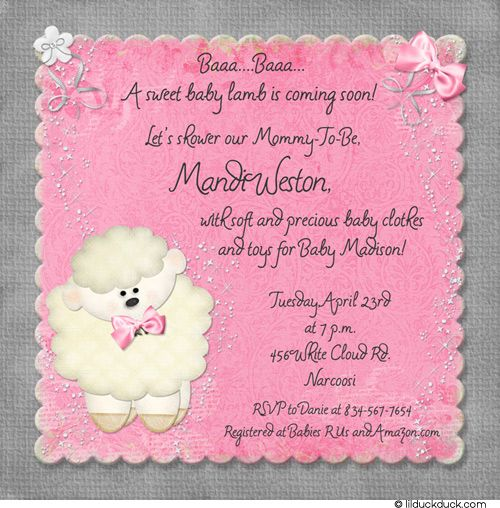 Little lamb baby shower invitation in custom pink gray colors chic photo card designs personalized anniversary invitations baby shower cardsbaby shower invitationslamb filmwisefo