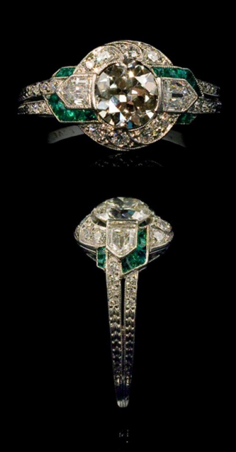 42c9bb0aa1df3 Tiffany & Co. An Art Deco platinum, diamond and emerald ring, New ...