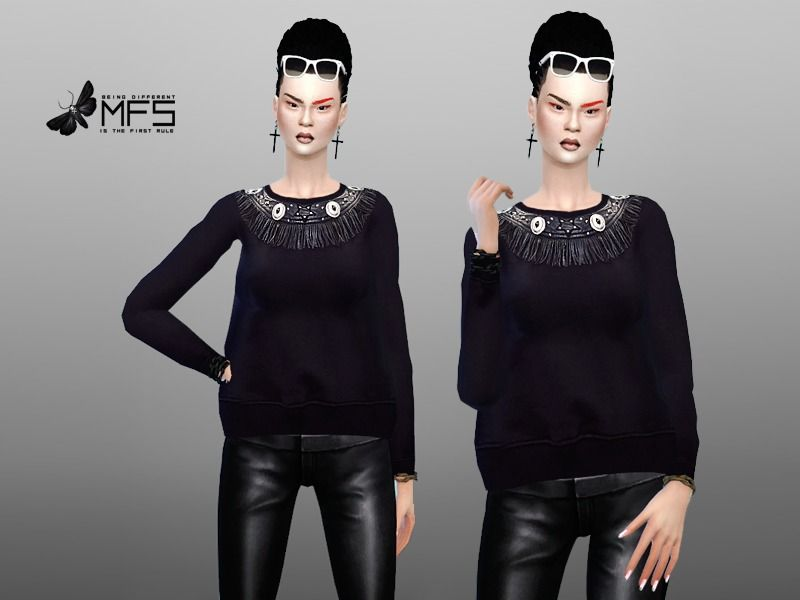 A comfy jumper with fringes, standalone, HQ Texture, One color.  Found in TSR Category 'Sims 4 Female Everyday'