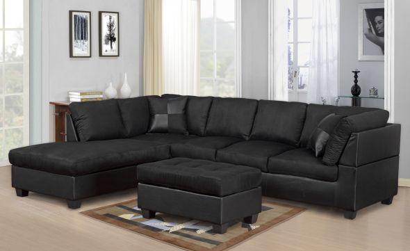 2328 Black Microfiber Sectional Optional Ottoman Living Room Sectional Sectional Sofas Cheap Sectional Sofa