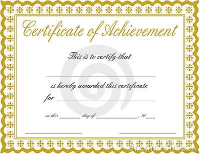 Certificate Of Achievement Royalty Free Stock Photos - Image - certificate of achievement word template