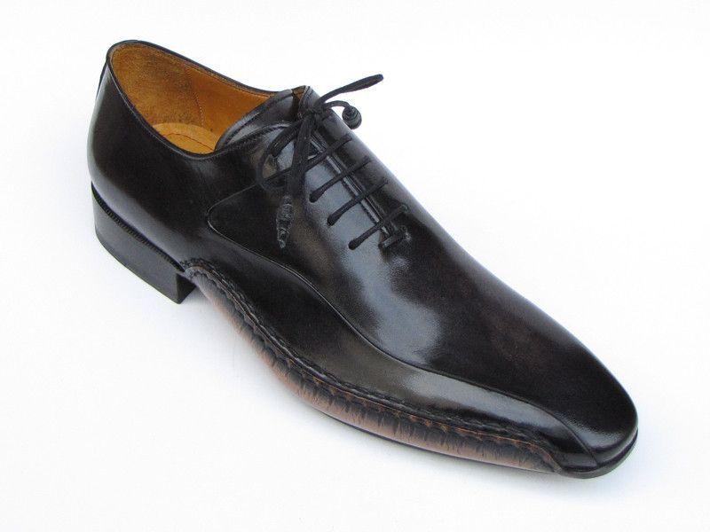 Paul Parkman Mens Black Handsewn Leather Oxfords