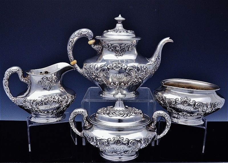 Gorham Buttercup Pattern Sterling Silver 4pc Tea Set