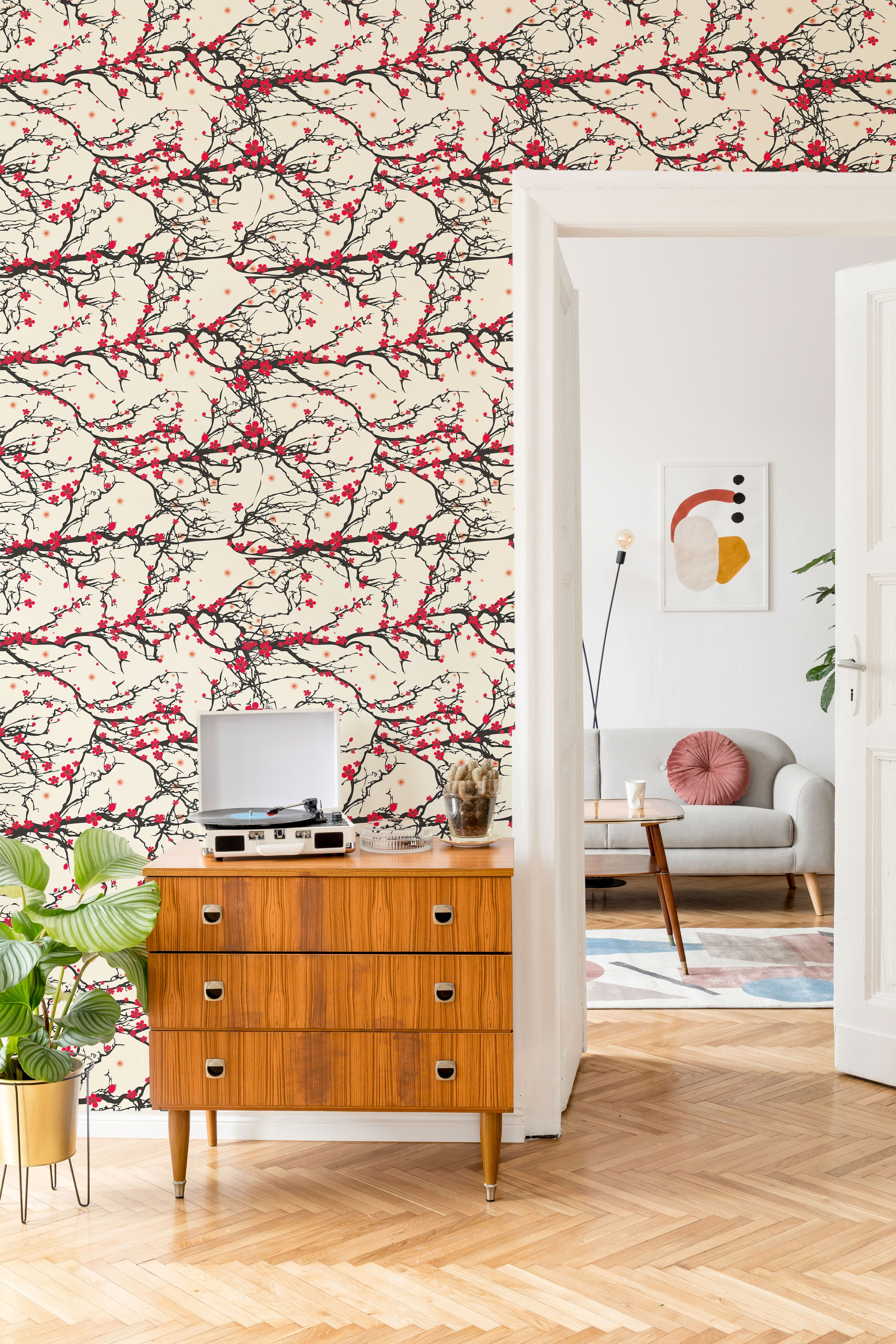 Black and Red Japanese Floral Fabric Removable Wallpaper