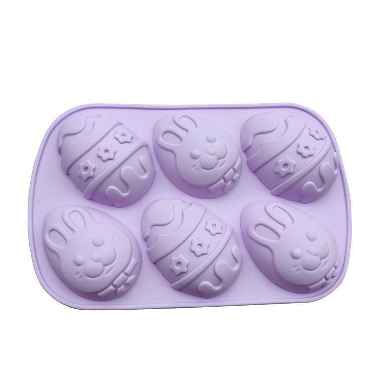 Easter Day Egg Shape Silicone Mold Gummy Animal Fondant Chocolate Candy Mould Cake Baking Decorating Tools Kitchen Bake Tool - Purple