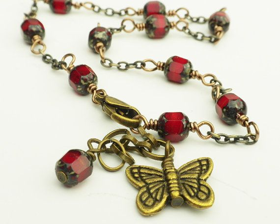 Red Anklet Victorian Style Butterfly Charm by ReneeBrownsDesigns, $15.00