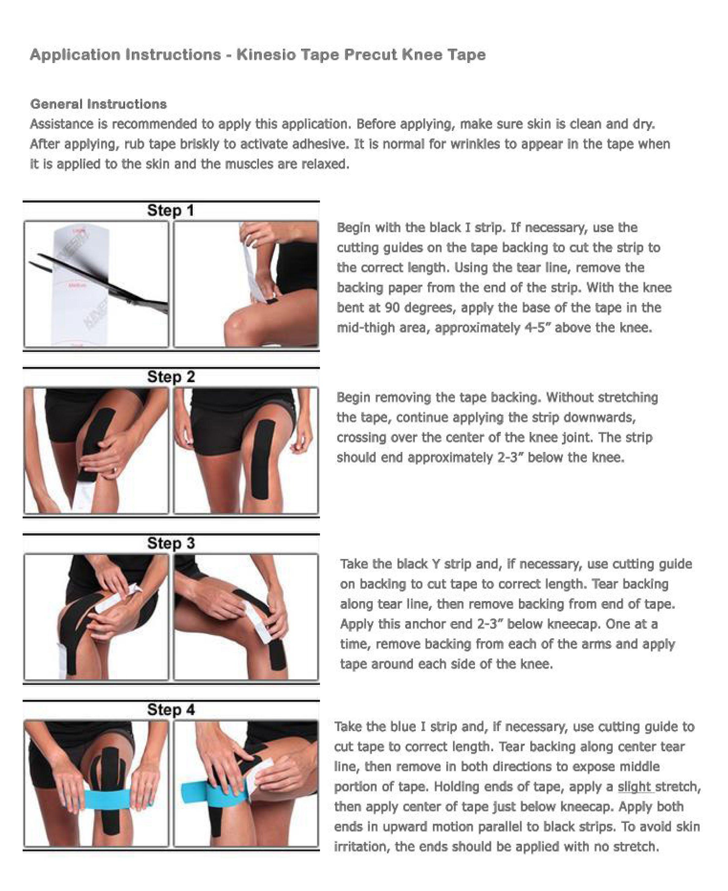 Kinesio instructions for knee precuttape kinesiology