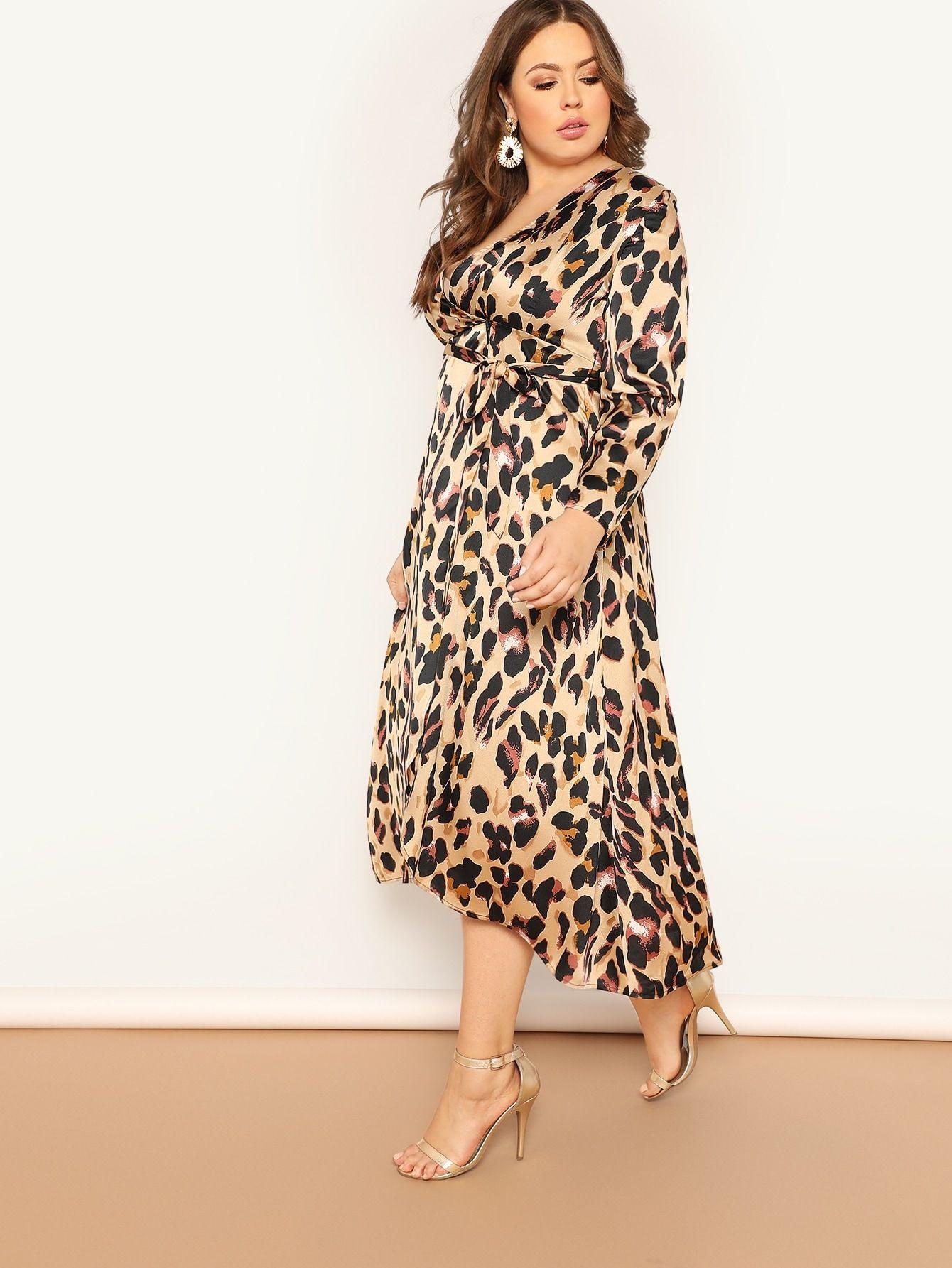 Ad Plus Leopard Print Surplice Wrap Dress Tags Elegant Multicolor Graphic Deep V Neck Long A Line Wrap Surplice Wrap Dress Wrap Dress Ribbed Dresses [ 1785 x 1340 Pixel ]