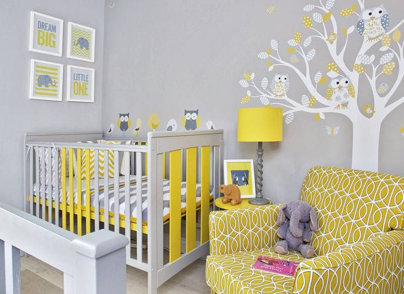 Grey Modern Nursery with Yellow Armchair and Wall Sticker ...