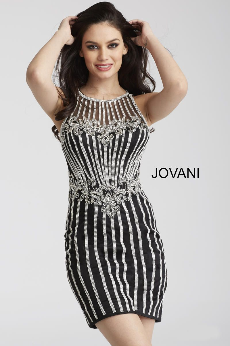 Jovani 55859 sheer beaded cocktail dress form fitting