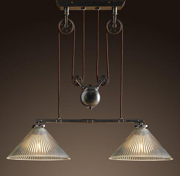 Industrial Pulley Double Pendant Industrial Light Fixtures