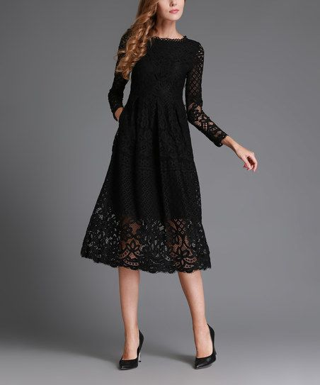 Victorian-inspired lace construction lends timeless appeal to this figure-flaunting dress.