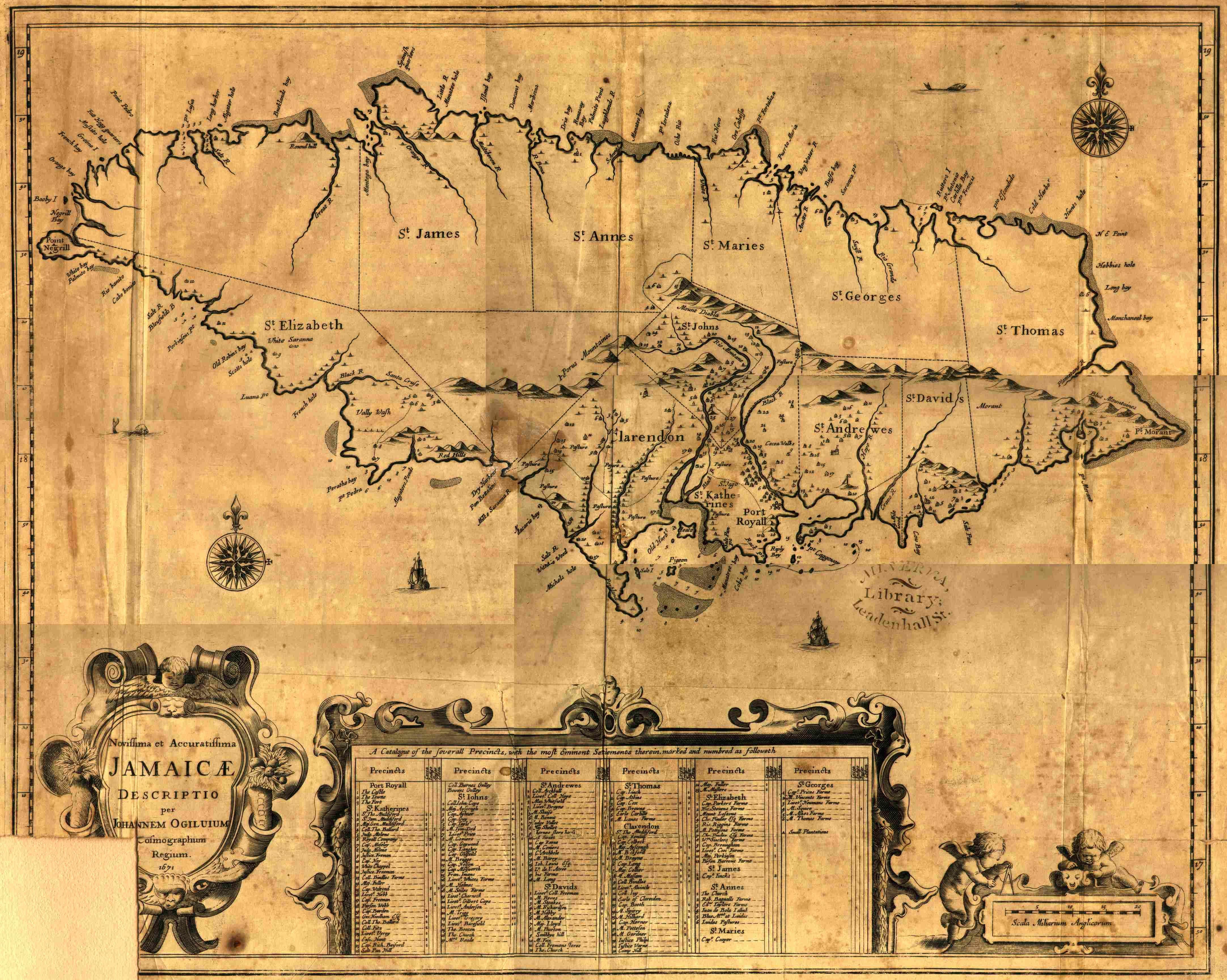 Map Of Jamaica 1671 Map Jamaica Alte Karten Jamaika Reisen