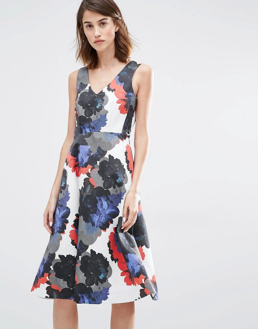 Image 1 of Warehouse Premium Oversized Floral Prom Dress