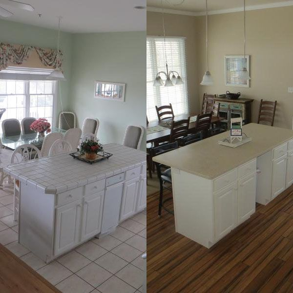 Home At The Jersey Shore The Great Room Had Two Different Floor Materials Easy Solution One Great Room One Gr Flooring Materials Kitchen Makeover Flooring