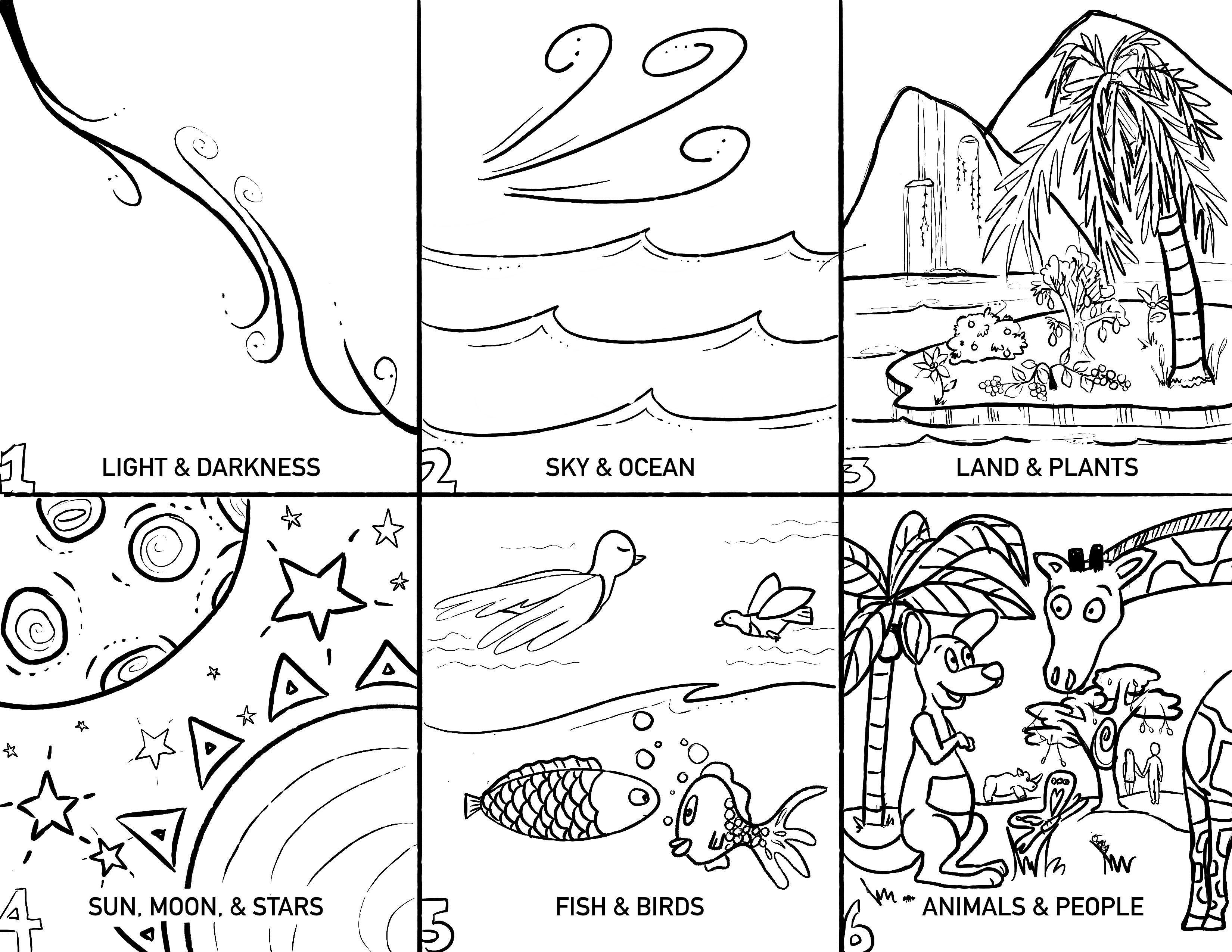Creation Coloring Page Free In 2020 Creation Coloring Pages Baby Moses Crafts Creation Bible Crafts