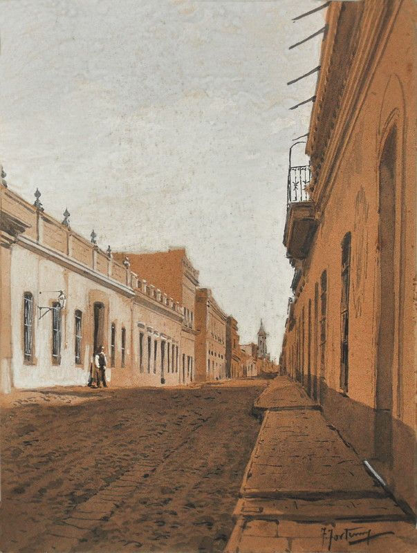 "Francisco Fortuny, ""Calle del Buenos Aires Antiguo"""