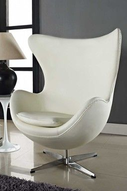 Italian Leather Glove Chair - White