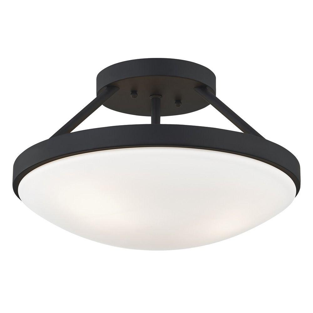 15 Inch Matte Black Semi Flushmount Light At Destination Lighting Black Ceiling Lighting Flushmount Light Hallway Light Fixtures
