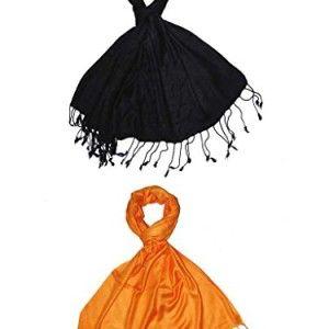 Craftshub-Casual-Soft-Luxurious-Solid-Viscose-Pashmina-Black-Orange-Stole-Combo-of-2-0