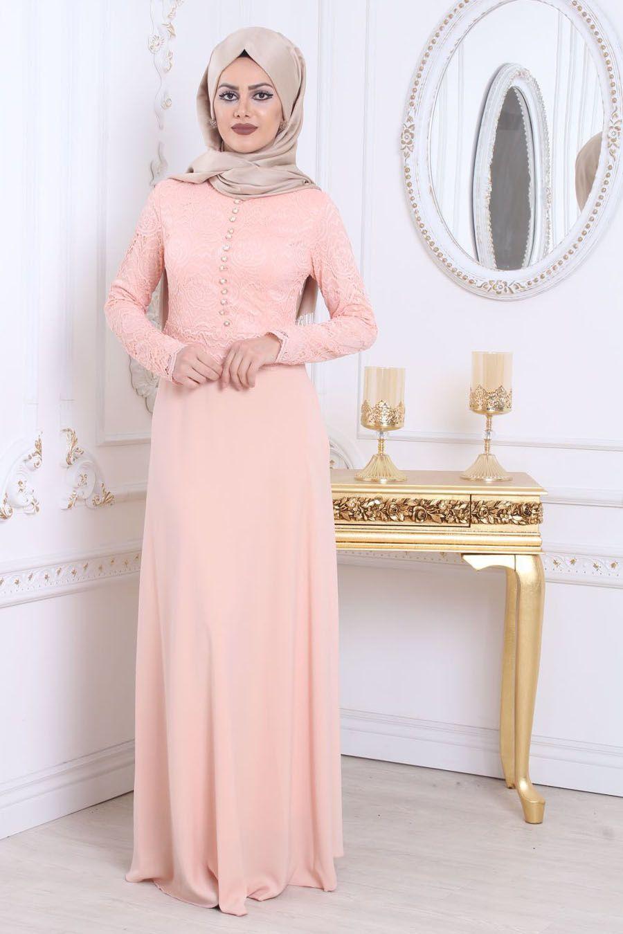 fa7aeefcd2109 Tesettürlü Abiye Elbise - Üzeri Dantelli Pudra Tesettür Abiye Elbise  78590PD #tesetturisland #tesettur #