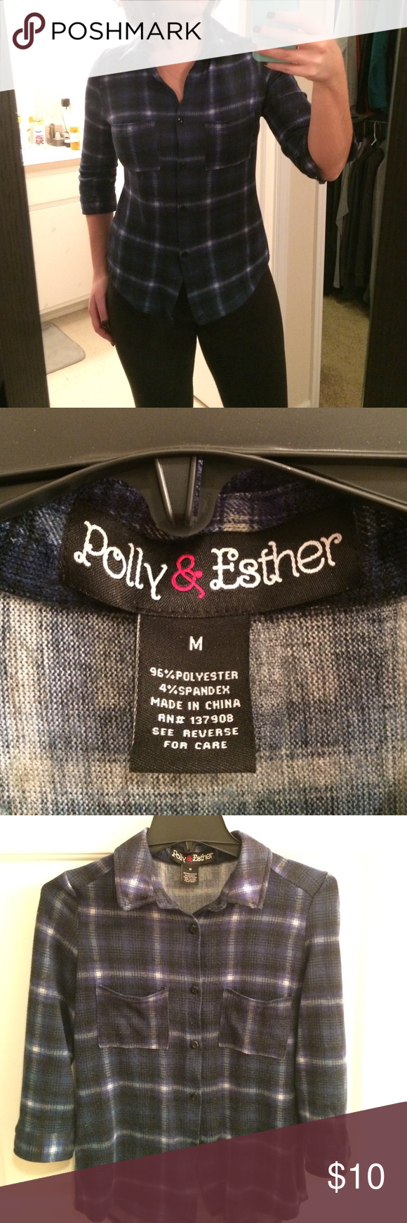 Polly & Esther juniors button up Stretchy, soft button up. Fitted style with a pocket on either breast. Has a snug fit for a medium, but the shirt has stretch to it and is still comfortable. Dark blue plaid. Sleeves are 3/4 Polly & Esther Tops Button Down Shirts
