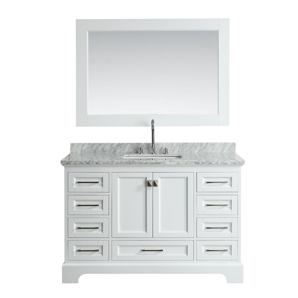 Design Element Omega 54 In. W X 22 In. D Vanity In White With Marble Vanity  Top In White With White Basin And Mirror