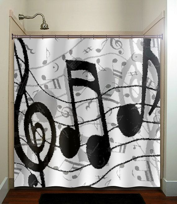 Music Note Bathroom Decor Clef Sheet Music Notes Shower Curtain