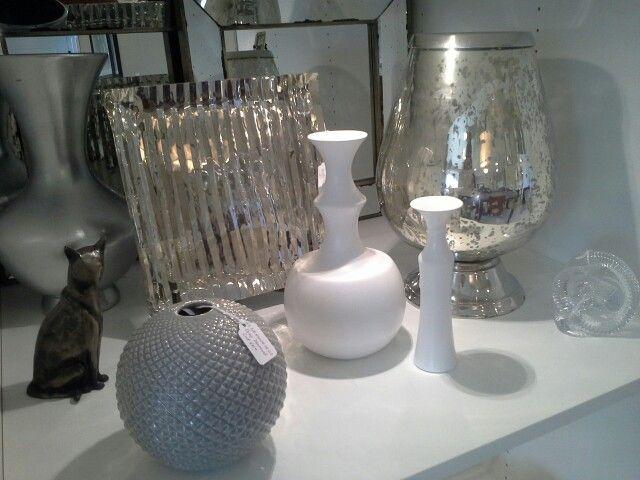 White vase. Mercury glass.  Cat sculpture. Glass Knot