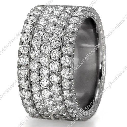 wide band diamond engagement rings diamond wedding bands palladium 10mm wide 1350 - Wide Band Wedding Rings